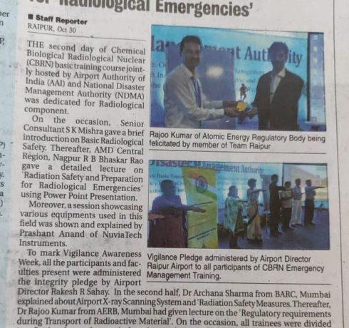Démonstration d'appareils NUVIATech Instruments a l'aéroport de Raipur